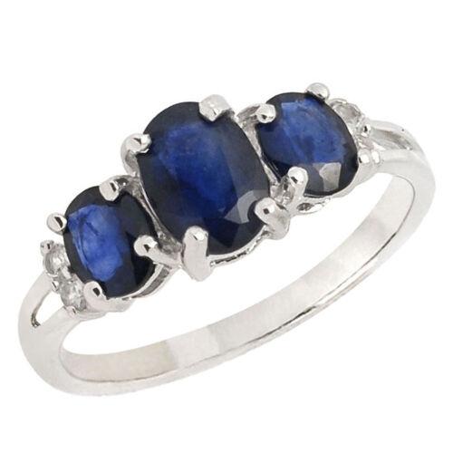 De Buman 925 Silver 1.96ctw Three Sapphire /& White Topaz Noble Lady Ring Size 7