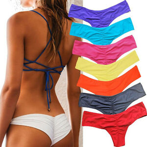 f9688084cd35b NE  HOT Brazilian Womens V Thong Cheeky Ruched Bikini Bottom ...