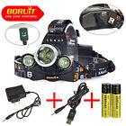 Boruit 13000Lm 3x XM-L L2 LED Headlamp HeadLight RJ-5000 lamp 18650 +USB / AC CH