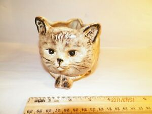 Vintage-Ceramic-Art-Pottery-Three-Sided-Planter-Owl-Cat-Dog-signed-Sample