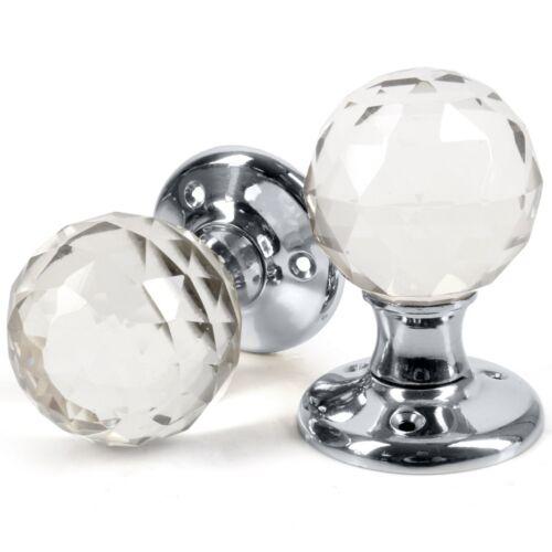60mm GLASS BALL MORTICE KNOB Polished Chrome Modern Diamond Crystal Door Handle