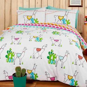 Joyeux-Llamas-Housse-Couette-Simple-Set-Perou-Azteque-Colore-Literie-Reversible