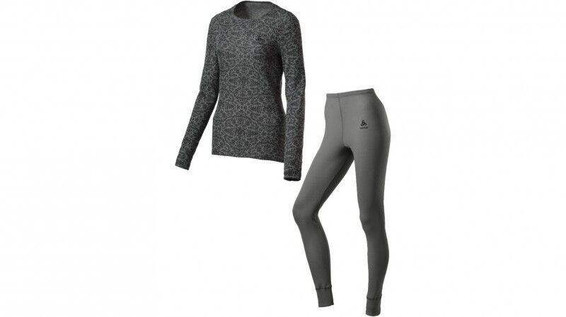 Odlo Set Warm Camouflage Damen Funktionsunterwäsche Set Skiunterwäsche Grau Neu
