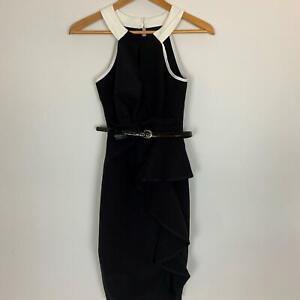 Lipsy-London-Women-039-s-Black-White-Polyester-Dress-6-A7-21