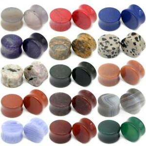 12pcs Solid Cat/'s Eye Stone Ear Gauges Saddle Flared Natural Stone Ear Plugs Lot