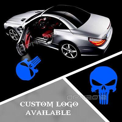 2x Car Door Step Shadow Light Led Laser Projector Lamp Blue Punisher Skull Logo