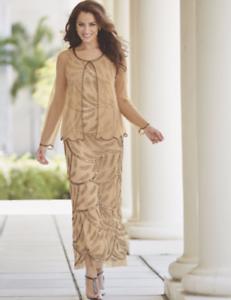 Midnight Velvet Beaded Formal Gold Golden Jacket Dress Gown Party Cruise M L 1X