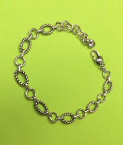 Brighton-2-Oval-Connector-Chain-Silver-Starter-Bracelet-Delicate-Chain-amp-Clasp