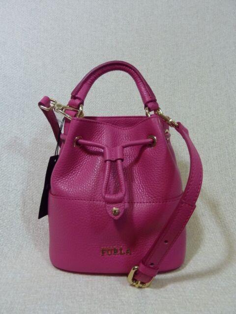 Nwt Furla Gloss Pink Leather Mini Brooklyn Bucket Tote Bag 298 Made In Italy