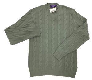 $1,000 Ralph Lauren Purple Label Green Cashmere Sweater Medium Made In Italy