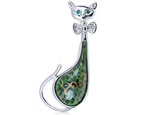 Crystal-Elements-Green-Leopard-Bodied-Bow-Tie-Kitty-Cat-Pin-Brooch-Fashion-Jewel