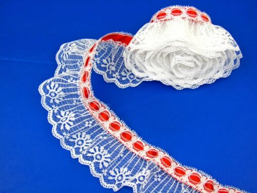 White Ruffled Candlewick Lace Trim with Red Ribbon Top~By 5 Yards