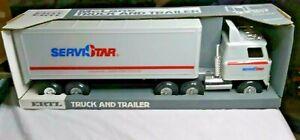 "Ertl ServiStar Hardware Tractor Trailer Pressed Steel In Box 22 1/2"" Long"