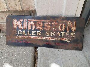 c.1940s Original Vintage Kingston Roller Skates Sign Metal Embossed Kokomo IN