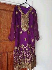 Asian 3 Pièce Costume Purple Salwar Kameez-afficher Le Titre D'origine Style à La Mode;