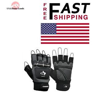HUSKY Medium Magnetic Mechanics Glove Pro Fingerless Padded Palm Safety Gear