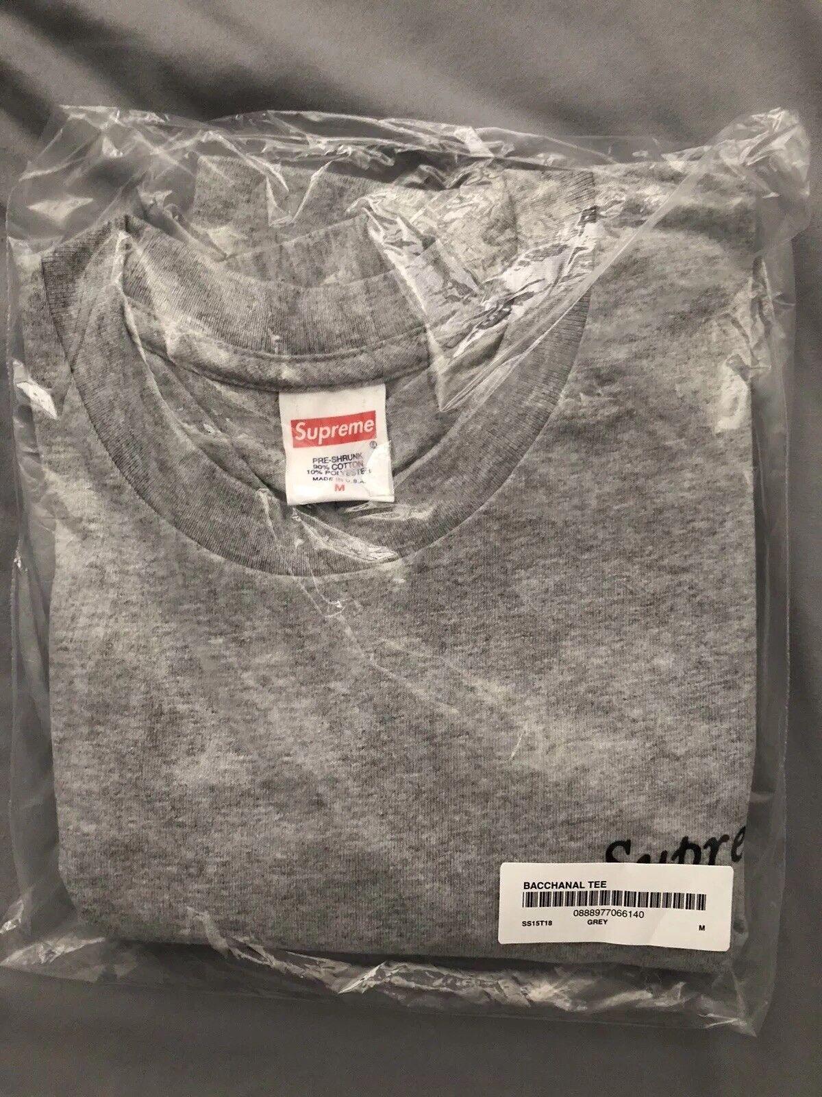 Supreme Bacchanal SS15 2015 Grau Tee Shirt Medium Box Logo Sold Out Rare