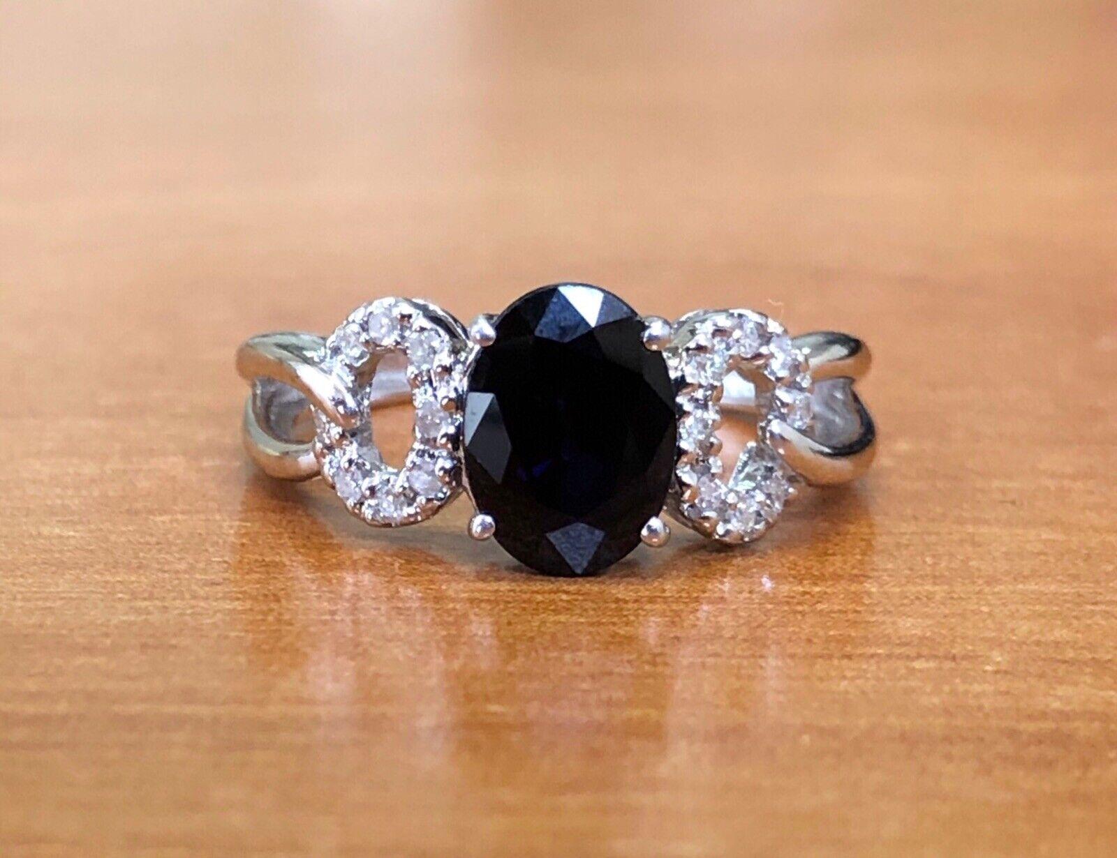 14k White gold bluee Sapphire Diamond Engagement Ring 1.72 Ct Size 5