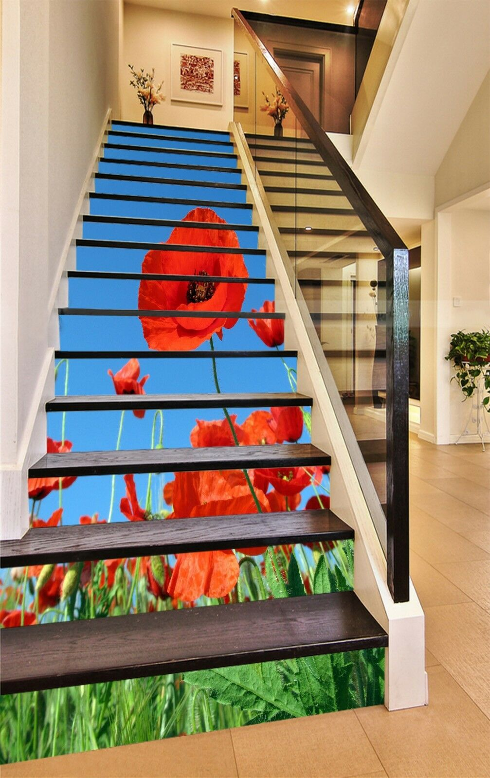 3D rot Field Flower Stair Risers Decoration Photo Mural Vinyl Decal WandPapier UK