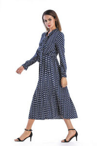 Vestito Abito Pua Elegante Maniche Cintura 3951 Comodo Lunghe Blu Lungo j5RL34A