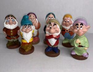 Disney-Snow-White-Seven-7-Dwarfs-Vinyl-Squeak-Toys-Vintage-Christmas-Holiday