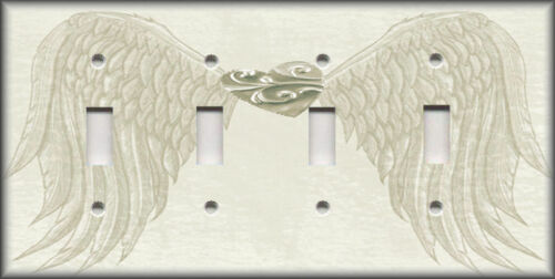 Metal Light Switch Plate Cover Angel Wings Home Decor Antique White