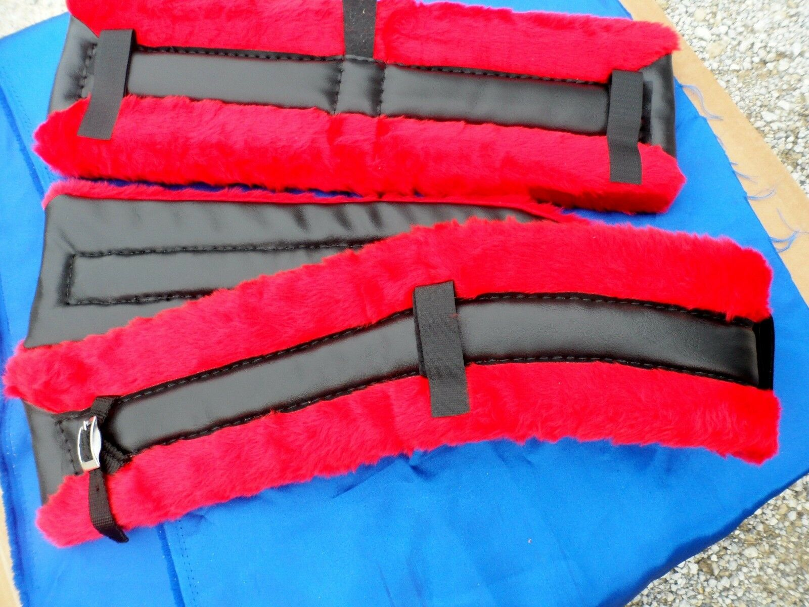Horse or Mule  Size Fleece Harness Saddle & Breast Collar Pads Set Amish Made RED  top brands sell cheap