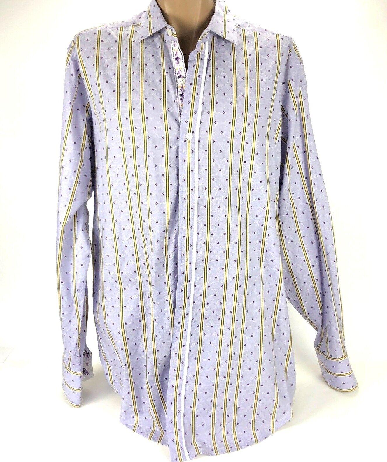 Robert Graham Men's Purple Striped Long Sleeve Button Down Dress Shirt Size XLT
