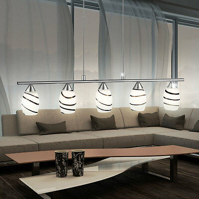 LED Pendelleuchte Wohnzimmer Lampe Hngebeleuchtung Glas Gestreift Hhe 110 Cm