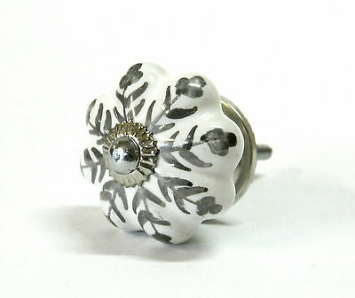 Ceramic Painted Leaf Drawer Cupboard Cabinet Knob 38mm - Silver/White