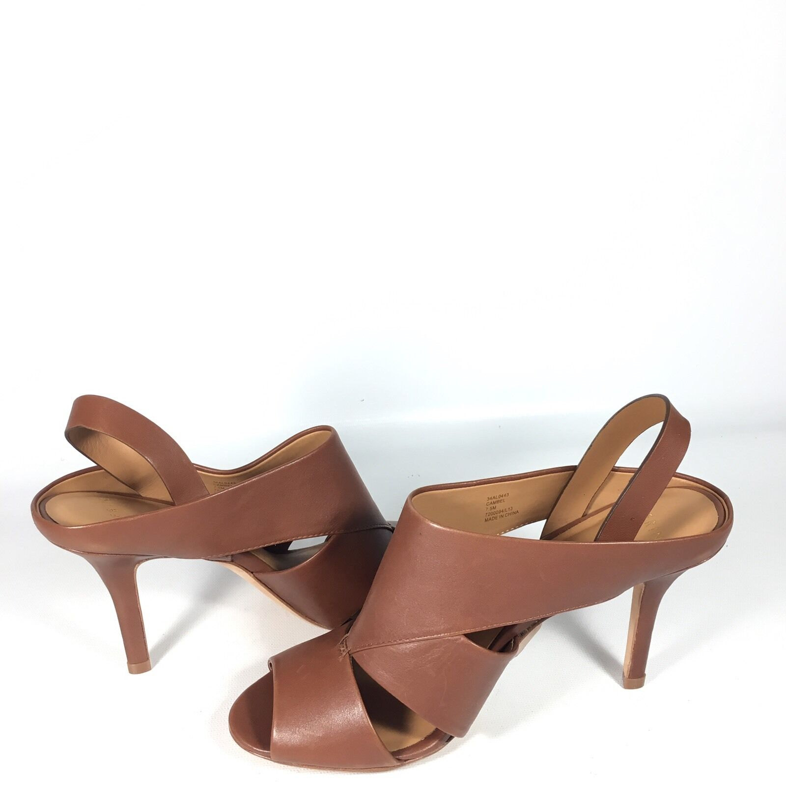 Aerin  Cambel  Women's Size 7.5 M Brown Leather Leather Leather Sandal Heels 407d7d