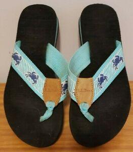 LL Bean Flip Flops Women's Size 6 Medium Slip On Thong Sandals Blue White CRAB