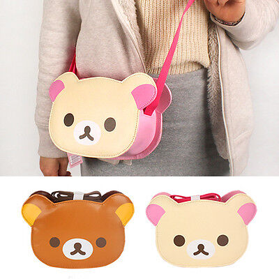 Cute Brown Rilakkuma Bear Faux Leather Head Shoulder Bag Cross Body Messenger