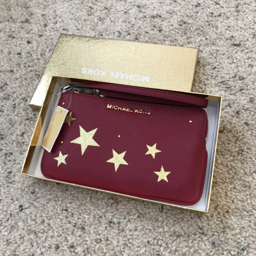 New Michael Kors Illustrations Cherry Red Saffiano Leather Wristlet In Gift Box by Michael Kors