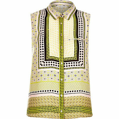 NEW Ex RIVER ISLAND Abstract Patterned Yellow Summer Work Tunic Vest Blouse