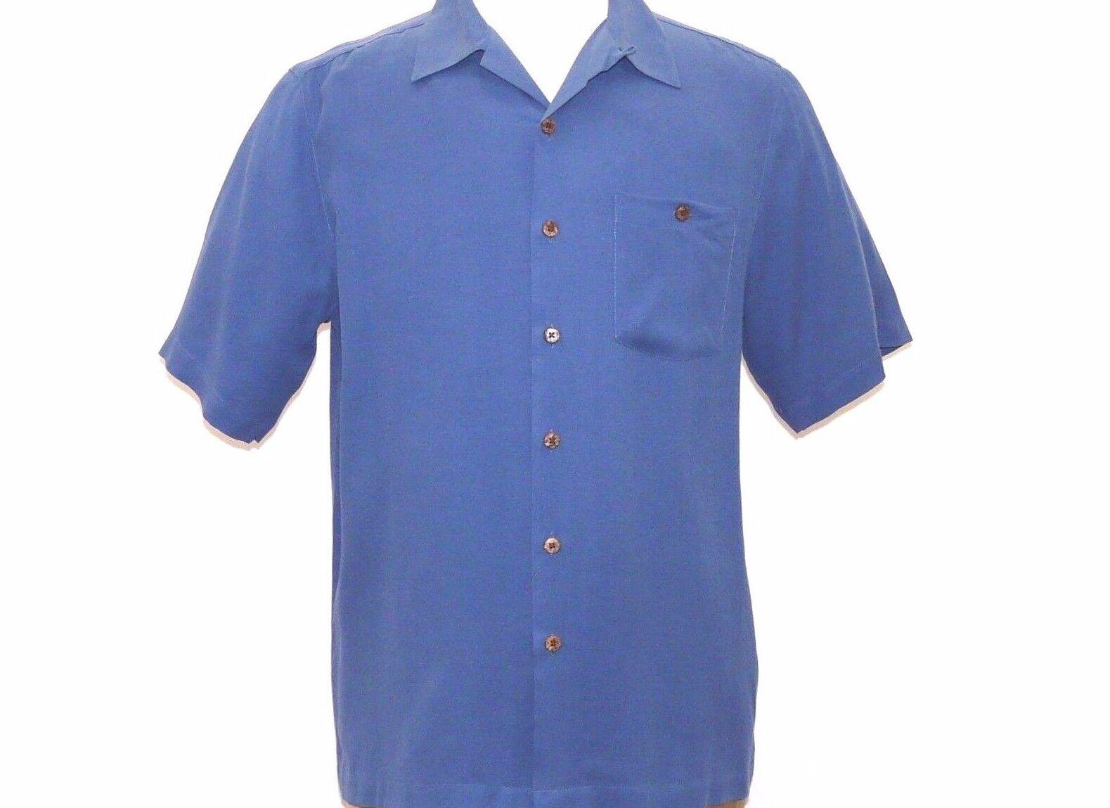 Mens 100% Silk Short Sleeves Shirt Beyond Paradise Dressy casual 3005 -10 navy