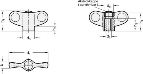 Durchmesser 48mm ELESA-Flügelmutter rot M5