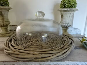 french-country-WICKER-PLATE-GLASS-DOME-rustic-RATTAN-platter-cheese-dessert