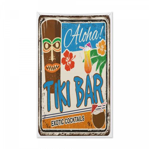 Tiki Bar Wandteppich und Tagesdecke Weinlese-Zeichen Druck