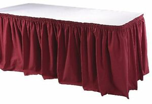 Table Skirt, PHOENIX, TSKT-13-BG, Table Skirting,13 Ft., Shirred, Burgundy