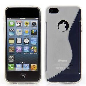 Apple-iPhone-5-5S-TPU-Silikon-Case-Schutz-Ring-Huelle-Etui-S-Line-Transparent