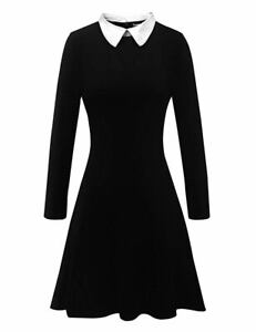 DEFECTIVE-Aphratti-Women-039-s-Long-Sleeve-Peter-Pan-Collar-Flare-Dress-Black-XS