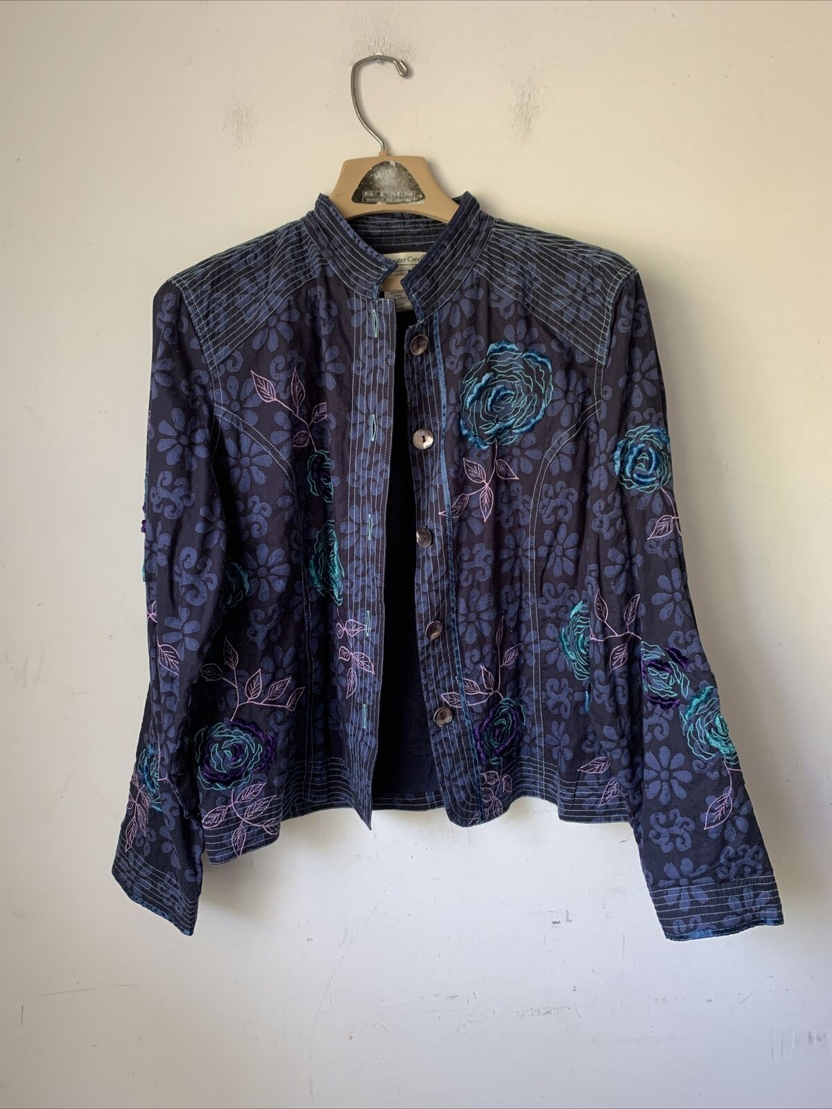 Coldwater Creek Womens Jacket Medium Floral Embroidered Jacquard Purple Blue