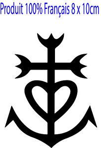 Autocollant Croix Camarguaise noir 10 x 8 cm adhésif Camargue multi support