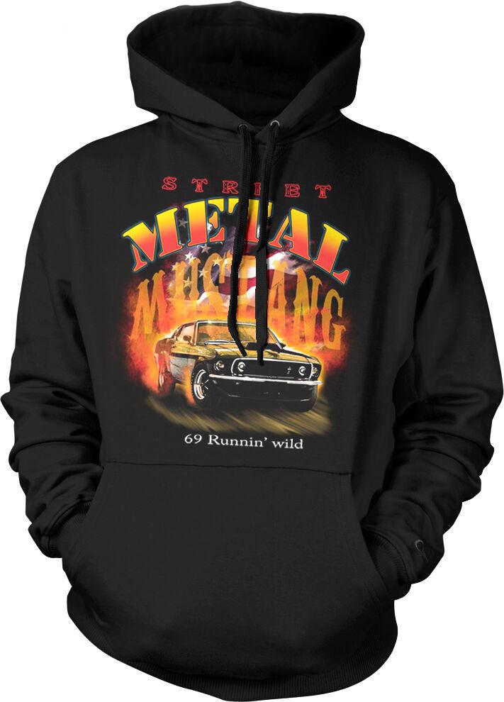 Street Metal Mustang '69 Runnin' Wild American Flag Muscle Car Hoodie Sweatshirt
