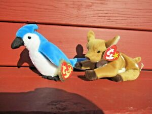 2 Original Ty Beanie Baby with tags Rocket Blue Jay #204 and Whisper Fawn #467