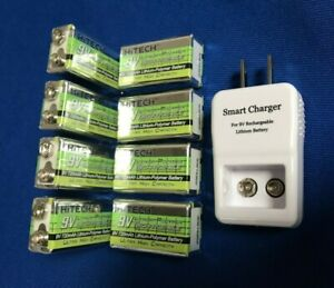 8-of-1-9V-Rechargeable-Li-Poly720mAh-NiMh3-times-ic-9v-Charger-Free-Ship-in-US