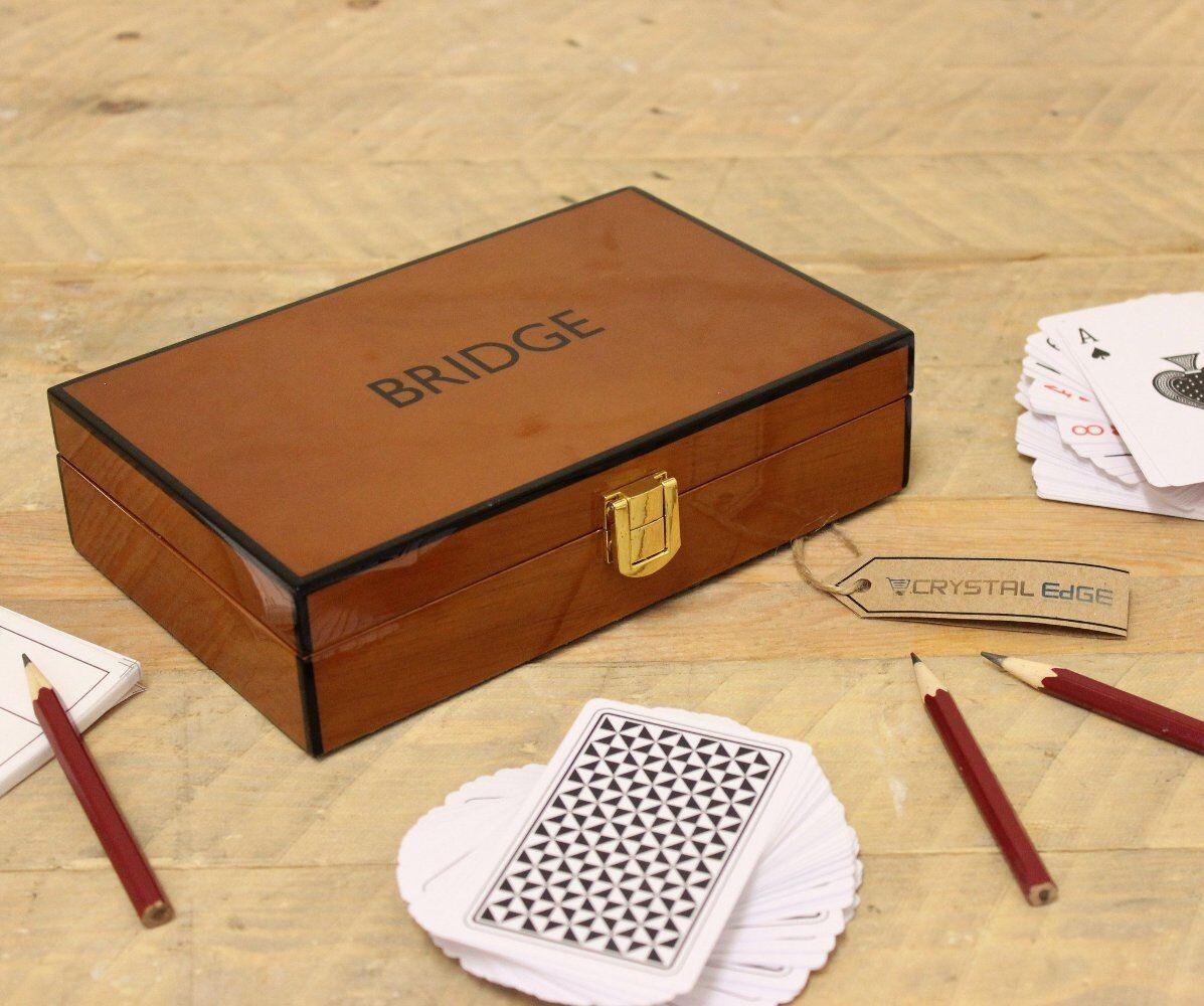 Penner Teak Bridge Game Set Piano Style Finish Box Playing Cards Score Card