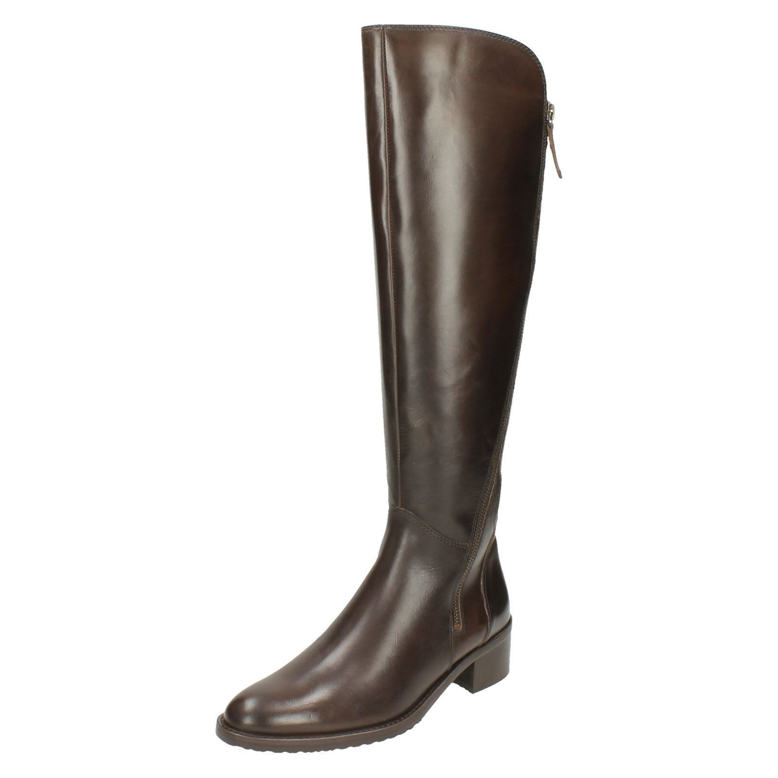 LADIES CLARKS LEATHER ZIP POINTED TOE LONG LEG RIDING BOOTS VALANA MELROSE