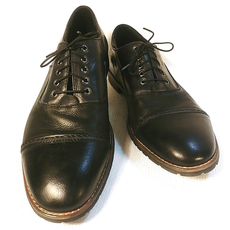 Robert Wayne Men's Lug Sole Cap Toe Black Leather Oxford Size 8 D